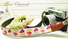 pink retro flower camera strap