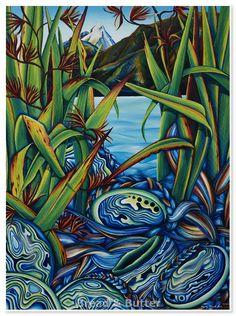 New Zealand Image, New Zealand Art, Plaster Art, Nz Art, Maori Art, Kiwiana, Cool Artwork, Landscape Art, Art World