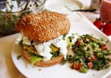 These herb and veggie packed chickpea burgers are a great Mediterranean meat-free twist on the classic burger.