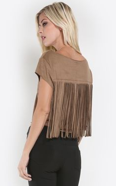 Be boho chic and wear this gorgeous back fringe detailed crop top! I MakeMeChic.com