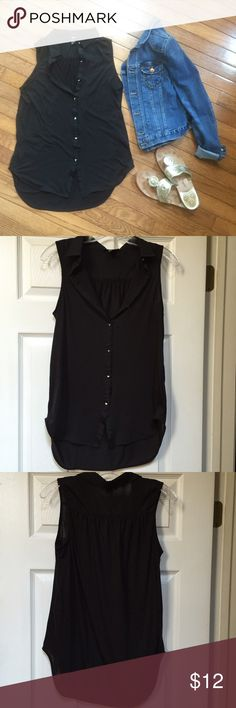 Black H&M Tank with Studs Removed the tag thinking I would wear it to work but never did! Studs in place of buttons give it a unique look. I am normally a small and this is an extra small so it runs big. H&M Tops Tank Tops