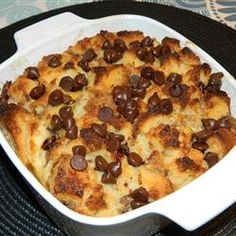 "Chocolate Banana Bread Pudding | ""My husband and I love making this recipe on lazy weekend for a late brunch! We used baguette bread rather than French and it gives a nice chewy texture that we enjoy. Thanks for the great idea!"""