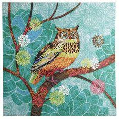 Poppy Owl Art -Teal