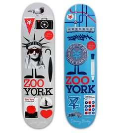 "Zoo York skateboards ""NYC""series designed by Mark and Matt Owens ( Life of the Mind / Athletics NYC / Volume One). Skate 4, Skate Decks, Skate Board, Skateboard Deck Art, Skateboard Design, Deck Design, Shape Design, Zoo York Skateboards, Logo Inspiration"
