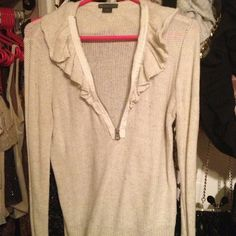 Armani exchange knit top Oatmeal color knit top with ruffle ad zipper A/X Armani Exchange Tops
