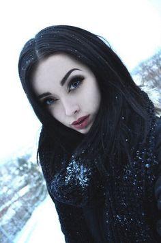 Dark hair pale skin