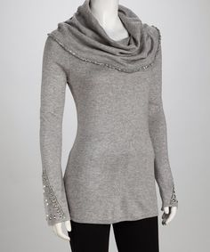 Take a look at this Colour Works Heather Gray Cowl Neck Sweater by New Year's Eve: Apparel & Shoes on #zulily today!