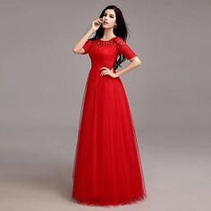 A-line Scoop Floor-length Tulle Evening Dress – USD $ 129.99