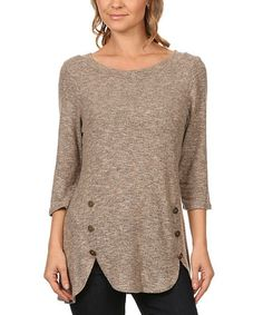 Look what I found on #zulily! Heather Tan Button Scallop-Hem Top by J-Mode USA Los Angeles #zulilyfinds
