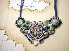 Náhrdelník Laguna, soutache necklace, white and blue soutache, awesome soutache, necklace