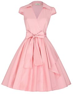 Women Rockabilly Dress Audrey Hepburn Vintage Dress V Neck Bow Pin Up Tunic Swing Woman Dress Summer Vestidos 50s 60s With Belt >>> More info could be found at the image url.