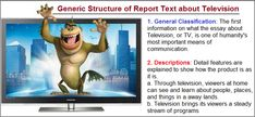 example of report text about television with generic structure