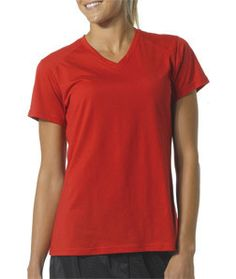NW3232 A4 Ladies' Fusion Short-Sleeve V-Neck Tee Scarlet Red