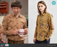 Howard's yellow floral shirt on The Big Bang Theory.  Outfit Details: https://wornontv.net/62937/ #TheBigBangTheory