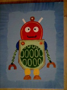 Set of Robots Paintings  Etsy.