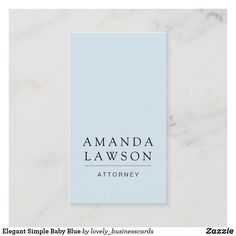 Elegant Simple Baby Blue Business Card Lawyer Business Card, Business Cards, Design Agency, Baby Blue, Smudging, Paper Texture, Things To Come, Writing, Elegant