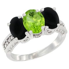 14K White Gold Diamond Natural Peridot and Black Onyx Ring 3-Stone 7x5 mm Oval, sizes 5 - 10 >>> Quickly view this special  product, click the image : Jewelry Ring Bands