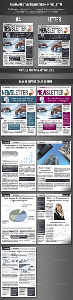 Newspaper Style A4 Newsletter - Newsletters Print Templates