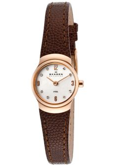 Skagen 502XSRLD Watches,Women's White Swarovski Crystals White MOP Dial Brown Genuine Leather, Women's Skagen Quartz Watches 80.00