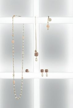 Metal chain necklace with glass pearls & natural stone - CHANEL - also matching bracelet in collection...x
