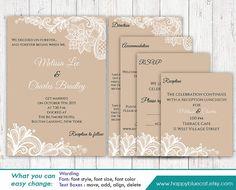 DiY Printable Pocket Wedding Invitation Template by HappyBlueCat