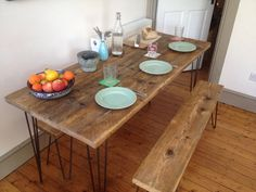 Industrial Handcrafted Reclaimed Wood Kitchen/Dining Table Vintage Hairpin Legs in Home, Furniture & DIY, Furniture, Tables | eBay