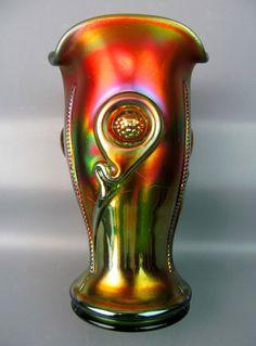 TORNADO ~ Green Carnival Glass Vase Types Of Glassware, Vases, Cranberry Glass, Antique Glassware, Glass Pumpkins, Vintage Carnival, Fenton Glass, Indiana Glass, Carnival Glass