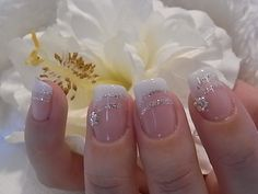 glittery french tips.