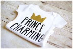 Boys Prince Charming bodysuit one piece shirt black and gold crown baby shower gift photo shoot outfit by AdsAndMarnieCo on Etsy https://www.etsy.com/listing/290031507/boys-prince-charming-bodysuit-one-piece