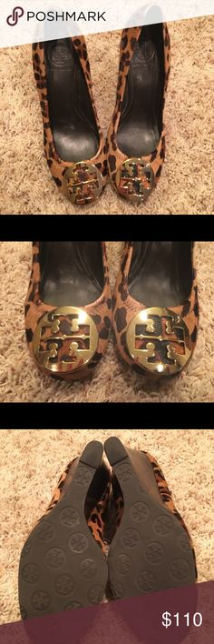 🐆Tory Burch Sophie Leopard Wedges Drop dead gorgeous Tory Burch Sophie pony hair leopard wedges! Size 8.5. In good used condition. Does show some signs of wear. See photos. Feature gold TB emblem on front. You will love all of the compliments you get while wearing these. An amazing designer shoe for a great price! Tory Burch Shoes Wedges