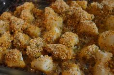 BAKED SCALLOPS These baked scallops have just the right amount of garlic and butter.  They get crispy on the edges of the pan. That's my favorite part!  Seafood dinner doesn't have to be expensive