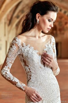 eddy k couture 2017 bridal long sleeves off the shoulder deep plunging v neck full embellishment gorgeous elegant lace fit and flare wedding dress v back chapel train (ct180) zv