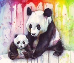 Baby and Mama Panda Watercolor by Olechka01.deviantart.com on @DeviantArt