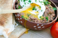 Egyptian Foul Mudammas (with poached eggs)----beloved by Egyptians----dating back to the Pharoahs.