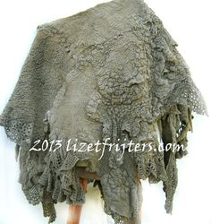 Grey Rustic Nuno Felt Poncho with Recycled by lizetfrijters