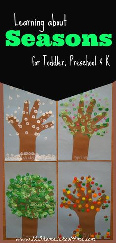 Learning about the 4 Seasons - Great theme for toddler, preschool or Kindergarten including hand art craft and free printables