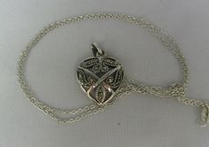 Vintage Sterling Silver Marcasite Heart Necklace by TheFashionDen, $25.00