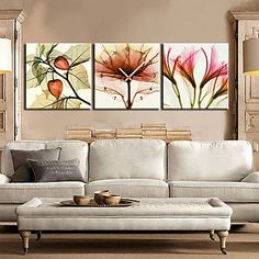 Long Dream modernen Stil floral landschaftlich Leinwand Wanduhr 3pcs K185 ,Wand Uhr Wanduhr Design Uhr Wanduhr Uhr Deko Wandtattoo Dekoration Uhren Wanduhr Design
