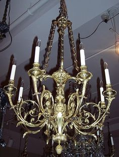 Antique Fine French Louis 16th Ormolu Chandelier circa 1865-1875 - CHB20 For Sale | Antiques.com | Classifieds Bronze Chandelier, Antique Chandelier, Chandeliers, Circa, Ceiling Lights, Lighting, Antiques, Beautiful, Home Decor