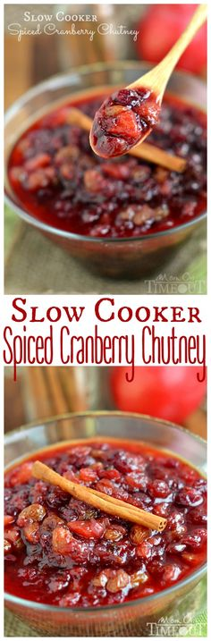 The refreshing flavor of this Slow Cooker Spiced Cranberry Chutney is the perfect addition to your holiday table! | MomOnTimeout.com | #recipe #Christmas #Thanksgiving