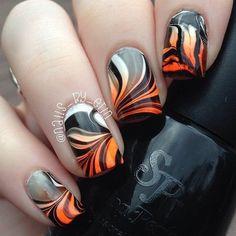 Halloween Watermarble Nails - #halloween #watermarblenails #watermarble…
