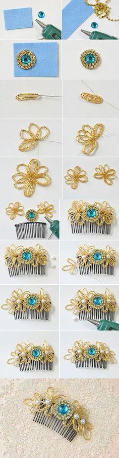 Free Tutorial on How to Make Beaded Flower Hair Comb from LC.Pandahall.com       #pandahall