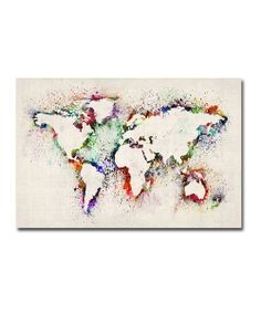 Paint Splashes Outline World Map Gallery-Wrapped Canvas