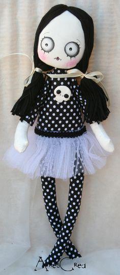 Varekina handmade spooky gothic / zombie art cloth doll with skull and ballerina tutu on Etsy, £31.77