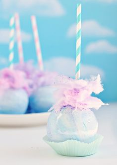 Pastel Swirl Cotton Candy Apple by sweetapolita. #yum