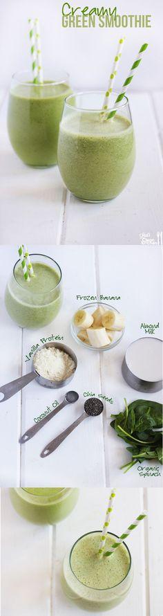 Creamy Green Protein Smoothie: Healthy, gluten-free, dairy-free, and paleo-friendly