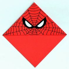 Marque page d'angle Spiderman. Bookmark Craft, Diy Bookmarks, Corner Bookmarks, Origami Bookmark, Origami Star Box, Origami Art, Spiderman, Cute Crafts, Crafts For Kids