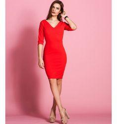 Στενό Midi Φόρεμα με Βε - Κόκκινο