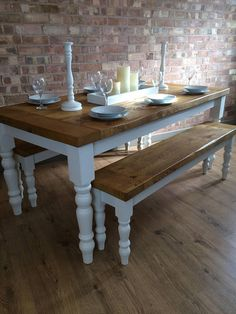 Chunky Rustic Handmade 6' Farmhouse Dining Table and Two 5' Benches Available in bespoke dimensions. All of our furniture is bespoke handmade to order and dining set are generally ready for dispatch within 3 - 4 weeks. Please contact us if you require an exact date of in a