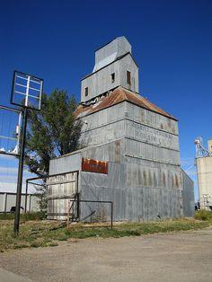 Old grain elevator in Leoti, Kansas